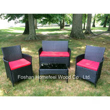 4pieces Red Cushioned Outdoor Patio Garden Rattan Sofa Set