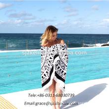 En gros De Bonne Qualité serviette de plage ronde 100% coton avec des glands