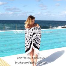 Atacado de boa qualidade 100% algodão rodada toalha de praia com borlas