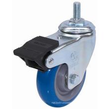 Threaded Stem PU Caster with Dual Brake (Blue)