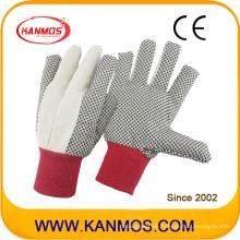 Doppeltes Palme genähtes PVC gepunktetes Segeltuch-Baumwoll-industrielle Sicherheit Handarbeits-Handschuhe (410022)