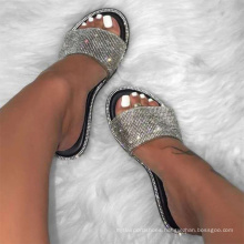 fashion 2020 ladies slippers and sandals wholesale  women slide slippers rhinestone summer sandals
