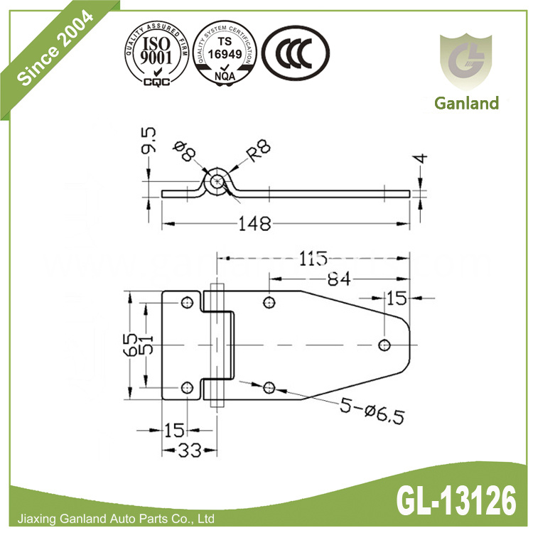 Steel non-removable pin hinge gl-13126