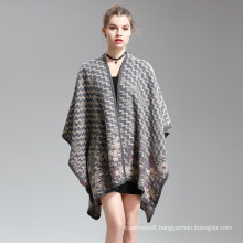 Womens Cashmere Feel Wave Printing Fancy Cape Stole Poncho Shawl (SP295)