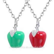2015 оптовая австрийских кристалл Рождество красный / зеленый кулон Apple