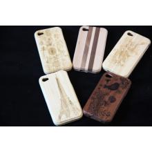 Cas en bois naturel de téléphone de caisse en bois d'environnement pour la couverture arrière d'iPhone avec le logo de gravure