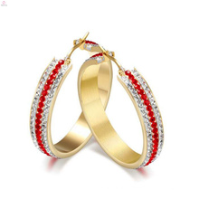 Edelstahl Runde Crystal Stud Hoop Ohrring, Gold Diamond Hoop Ohrringe