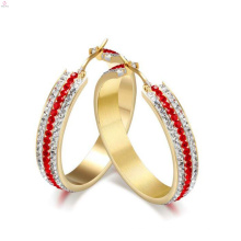 Boucle d'oreille de cercle de cristal rond d'acier inoxydable, boucles d'oreille de diamant d'or