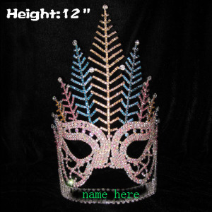 Coroa em forma de máscara do concurso de altura de 12in com penas de pavão