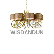 8-lignts elegant glass pendant lamp with fabric