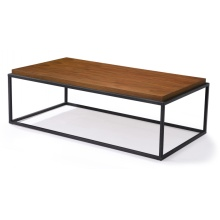 Square Wood Top Metal Base Lowheight Coffee Tables