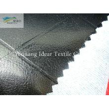 Grade preta em relevo PU couro tecido/falso PU couro tecido