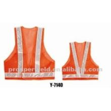 GRANDE ANSI CLASE 2 Cinta reflectora con borde y chaleco de seguridad de alta visibilidad Y-7140