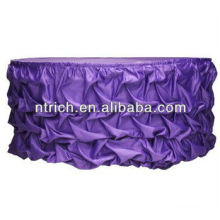 Violet satin ruffled table cloth for wedding,banquet and party