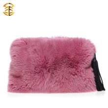 New Model Real Fox Fur Evening Handbags com borlas