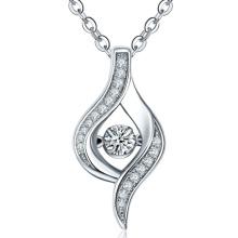 Prong Setting 925 colar de pingente de prata para mulheres