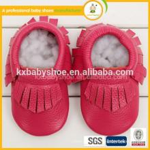 2016 la mejor manera de la venta recién nacido moccasins de cuero baratos de encargo del bebé de la PU de la calidad superior del grado