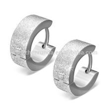 Hot Sale Men's Stainless Steel Sandblasted Silver Hoop Earrings