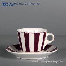 A granel barata de café de cerâmica copo feito sob encomenda chá xícara de chá de porcelana durável e Sausers