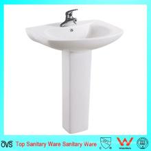 Éviers de salle de bains populaires Lavabo à la main en céramique à base de pedestal