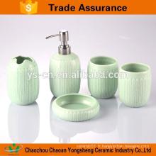 5pcs design de porcelaine bleue et blanche accessoires de salle de bains populaires avec deux gobelets