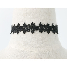 Black Flower Choker Water Soluble Lace Necklace With Pendant