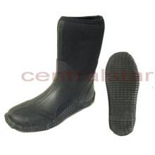 Bottes en caoutchouc de néoprène de MID-veau de mode noir (RB011)