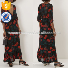 New Fashion Black Floral Print Maxi Dress Manufacture Wholesale Fashion Women Apparel (TA5250D)