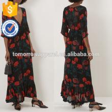 Новая мода черный цветочные печати Макси платье Производство Оптовая продажа женской одежды (TA5250D)
