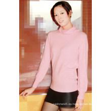 Suéter de lino sólido de cachemira de mujer