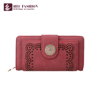 HEC Latest Design PVC PU Leather Multi-Color Optional Ladies Purse