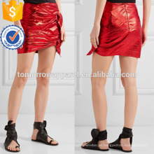 Nova Moda Vermelho Metálico Couro Mini Verão Mini Saia Diária DEM / DOM Fabricação Atacado Moda Feminina Vestuário (TA5008S)