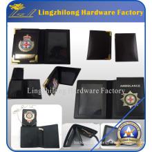 Echtes Leder Badge Holder Brieftasche mit ID Schild
