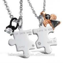 Hot vente bijoux à la mode style amour toujours ici en acier inoxydable puzzle collier