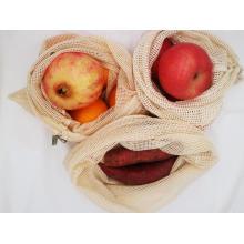 bolsa de malla de algodón con cordón para ir de compras