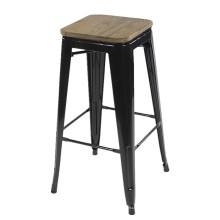Tabouret de bar en fer noir industriel commercial en gros de meubles bon marché avec la chaise de bar de panneau de bois