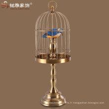 cage de bronze en fonte pour oiseaux à la fois pendaison et debout cages oiseau pour décoration intérieure