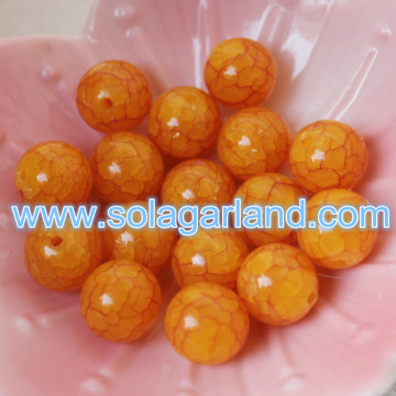 8/10/12/14/16/18/20 MM Acrylic Crystal Amber Color Beads Yellow Crack Crystal Round Beads