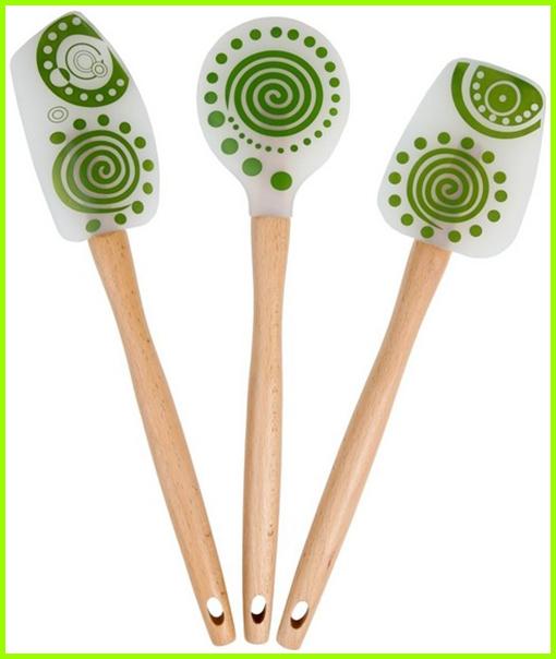 silicone set spatule avec manche en bois de cuisine. Black Bedroom Furniture Sets. Home Design Ideas