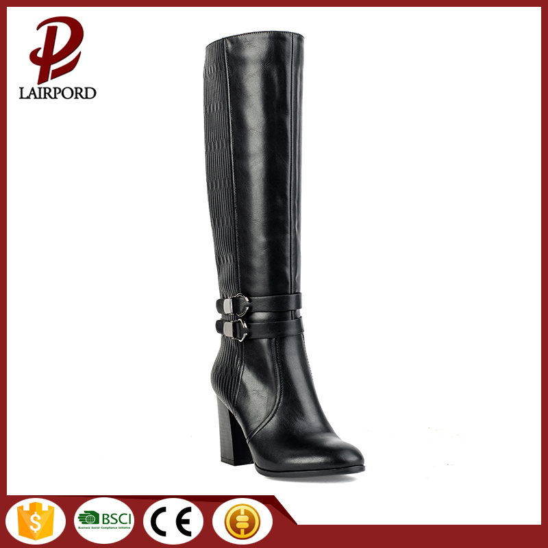 Leisure style women leather thick heel boots