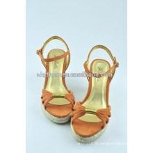 Damen Schuh süße Freizeit bequeme Joker Keile Flachs Sandalen für Damenschuhe
