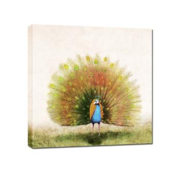 La pintura más nueva de la acuarela del pavo real de la lona del diseño