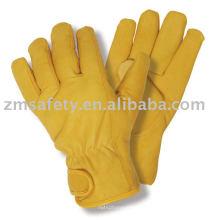 Guante de trabajo de alta calidad de cuero amarillo