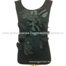 Women's tank tops, satin laser cut round pieces decoration at front, shiny and attractive