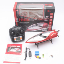 H106 long range RC boat model with brush motor ship toy 180 degree flip high speedboat with 150m remote control (LED Screen)