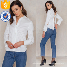 La última blusa de la camisa del verano de la manga del algodón blanco del último diseño 2019 con la fabricación de las correas vende al por mayor la ropa de las mujeres de la moda (TA0046B)