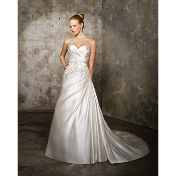 A-line Sweetlove Cathedral Train Satin Criss-Cross Beading Wedding Dress