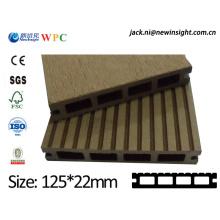 Decking extérieur de WPC de 125 * 23mm fabriqué en Chine
