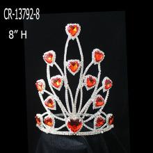 2015 New Fashion Rhinestones Red Heart Crowns