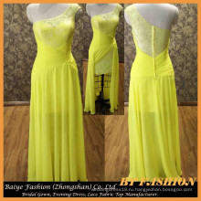 Шифон желтый вечернее платье кружево Пром платье милая Леди последние стили платье до 14103